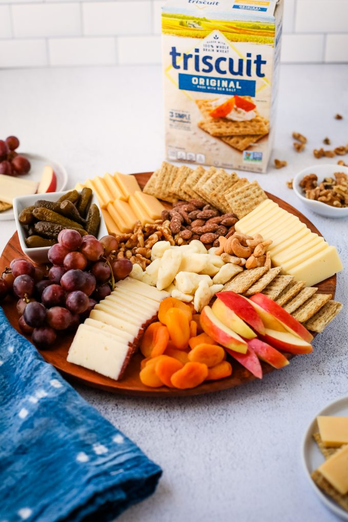 snack board with triscuits
