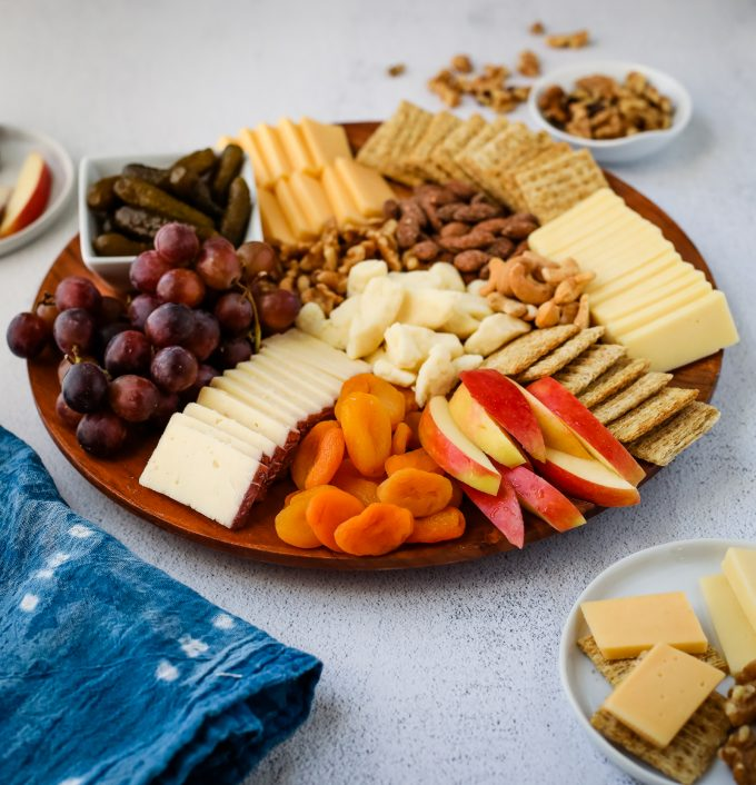 snack board with cheese