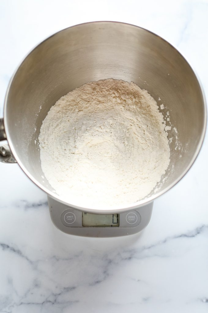 pizza flour in a mixing bowl