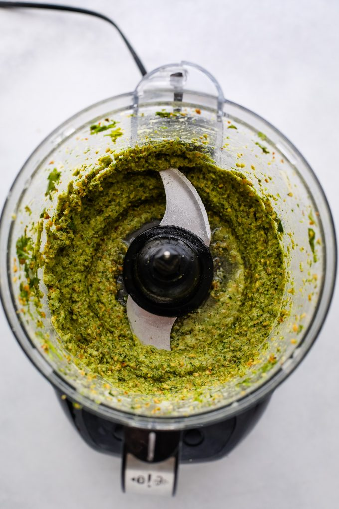 blended cilantro pesto in the food processor