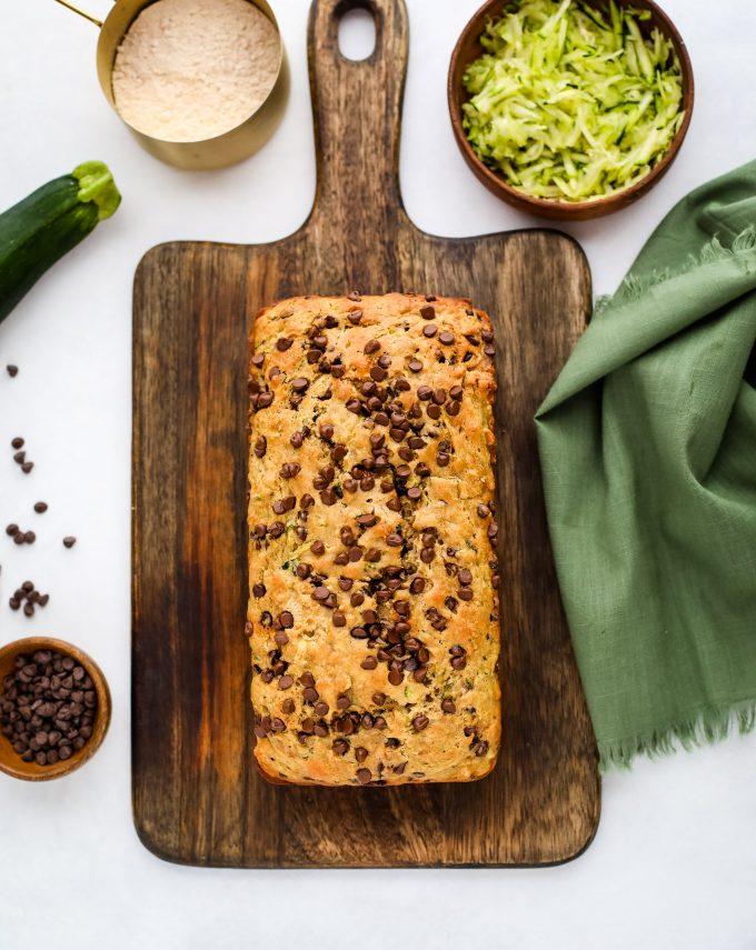 zucchini bread on a cutting board