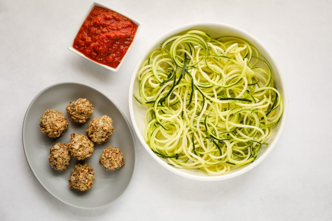 zucchini noodles and nut meatball ingredients