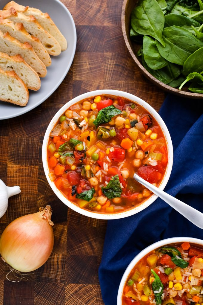 10 vegetable soup in a bowl