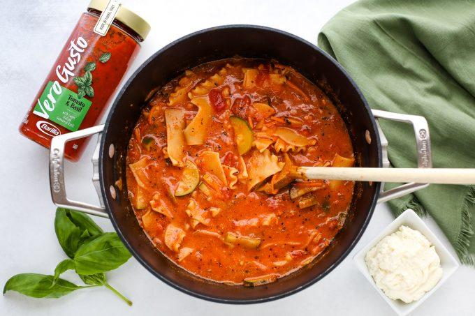 lasagna soup in a pot